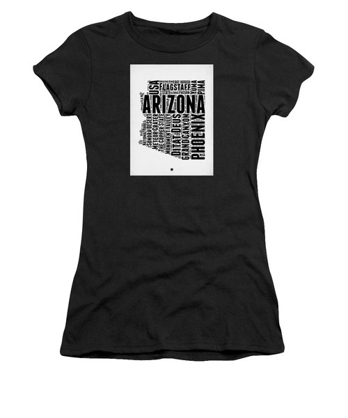 Arizona Word Cloud Map 2 Women's T-Shirt (Junior Cut) by Naxart Studio