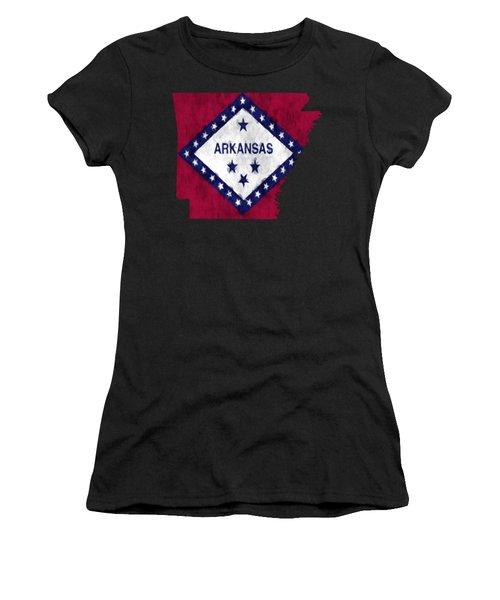 Arkansas Map Art With Flag Design Women's T-Shirt