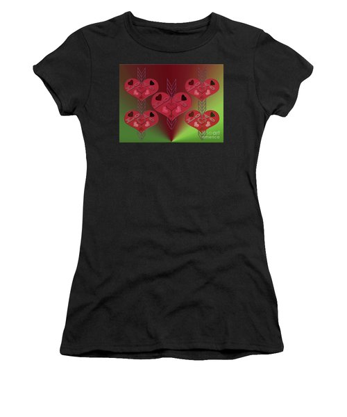 Women's T-Shirt featuring the photograph Arrows Shooting Love Hearts by Rockin Docks Deluxephotos