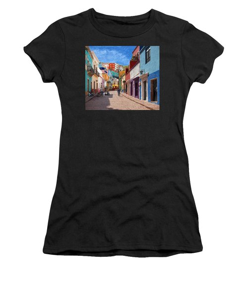 Art Students Drawing A Street In Guanajuato Women's T-Shirt (Athletic Fit)