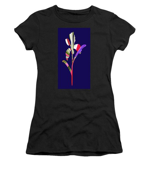 Artsy Flower With Blue Background Women's T-Shirt