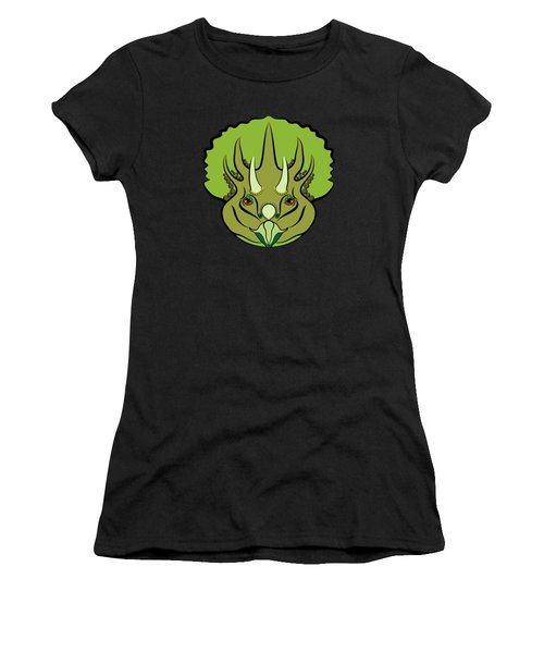 Women's T-Shirt featuring the digital art Triceratops Graphic Green by MM Anderson