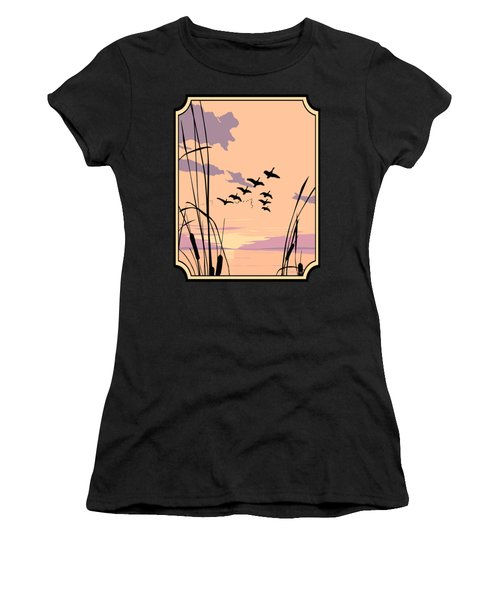 Abstract Ducks Sunset 1980s Acrylic Ducks Sunset Large 1980s Pop Art Nouveau Painting Retro      Women's T-Shirt