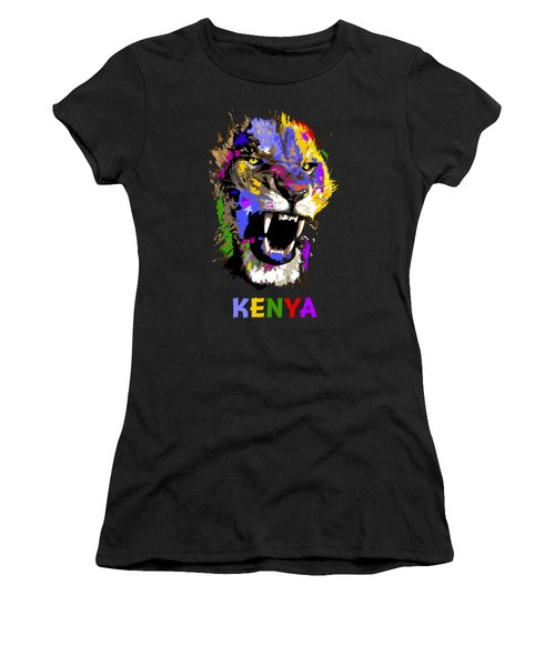 Cat Snarl Women's T-Shirt (Junior Cut) by Anthony Mwangi