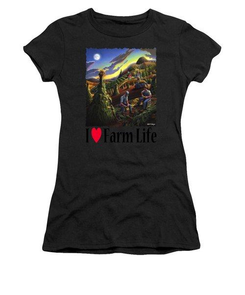 I Love Appalachia - Farmers Shucking Corn Til Sunset - Rural Farm Landscape Women's T-Shirt