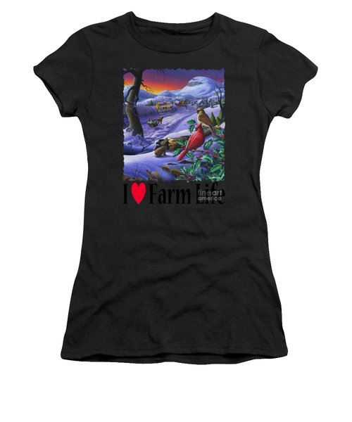 I Love Appalachia - Small Town Winter Landscape - Cardinals Women's T-Shirt (Athletic Fit)