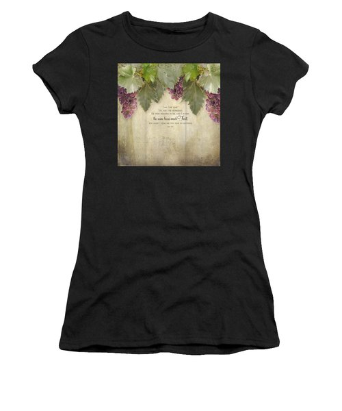 Tuscan Vineyard - Rustic Wood Fence Scripture Women's T-Shirt