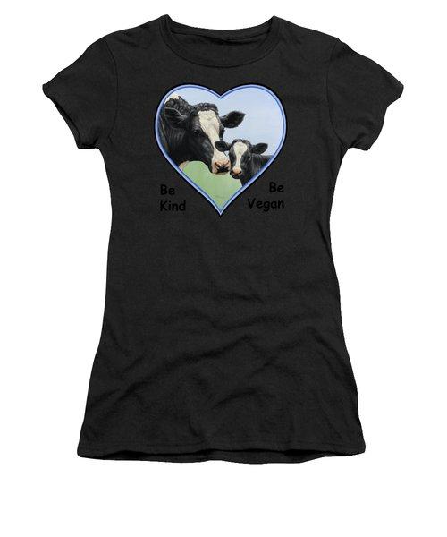 Holstein Cow And Calf Blue Heart Vegan Women's T-Shirt