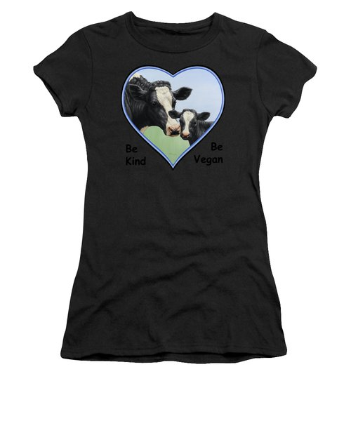 Holstein Cow And Calf Blue Heart Vegan Women's T-Shirt (Athletic Fit)