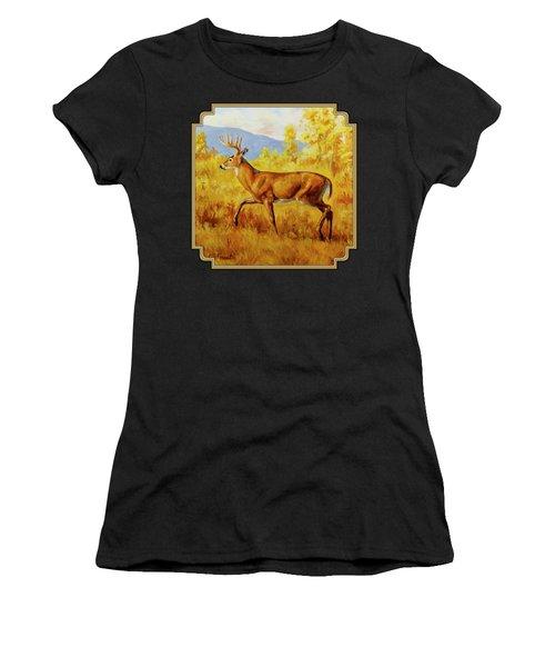 Whitetail Deer In Aspen Woods Women's T-Shirt