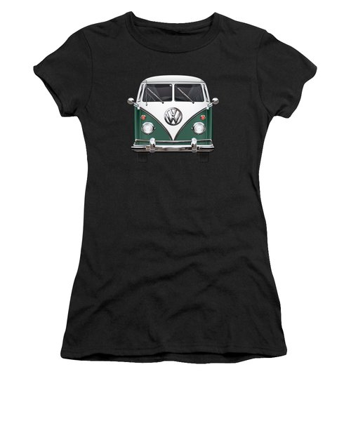 Volkswagen Type 2 - Green And White Volkswagen T 1 Samba Bus Over Red Canvas  Women's T-Shirt