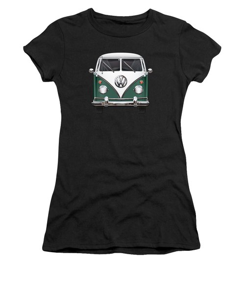 Volkswagen Type 2 - Green And White Volkswagen T 1 Samba Bus Over Red Canvas  Women's T-Shirt (Athletic Fit)