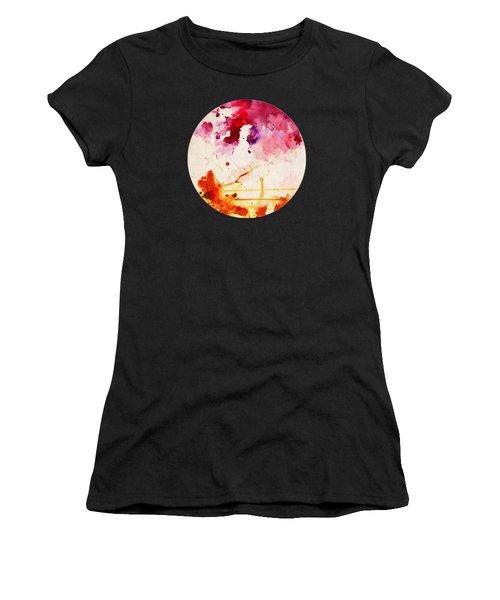 Fuchsia And Orange Color Splash Women's T-Shirt