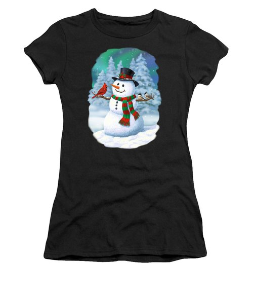 Sharing The Wonder - Christmas Snowman And Birds Women's T-Shirt (Athletic Fit)