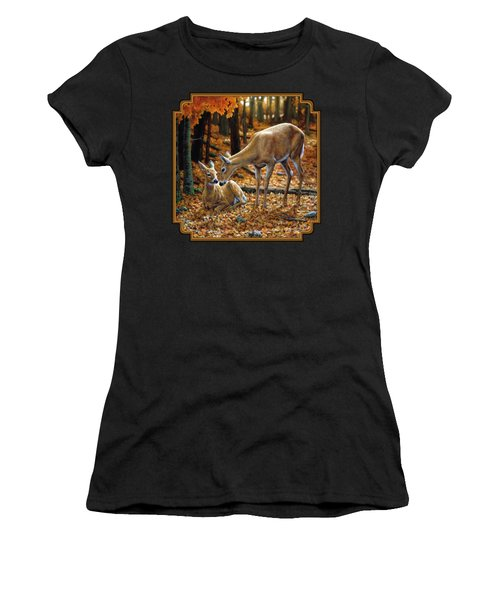 Whitetail Deer - Autumn Innocence 2 Women's T-Shirt (Athletic Fit)