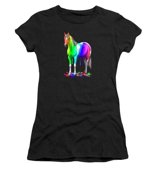 Colorful Rainbow Paint Horse Women's T-Shirt (Athletic Fit)