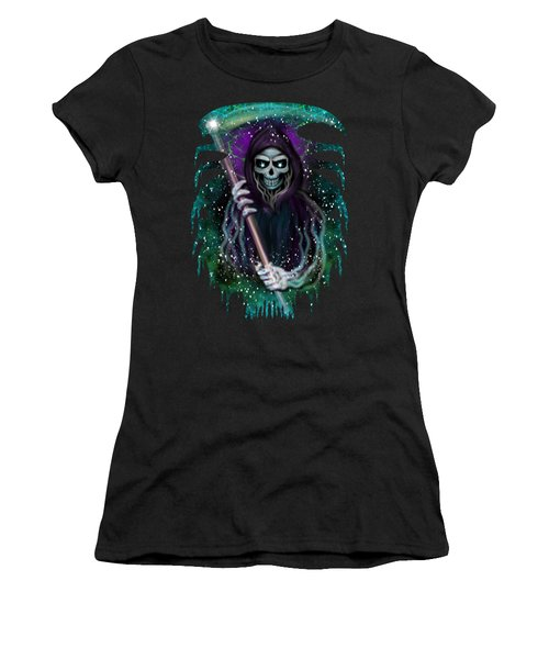 Galaxy Grim Reaper Fantasy Art Women's T-Shirt (Athletic Fit)