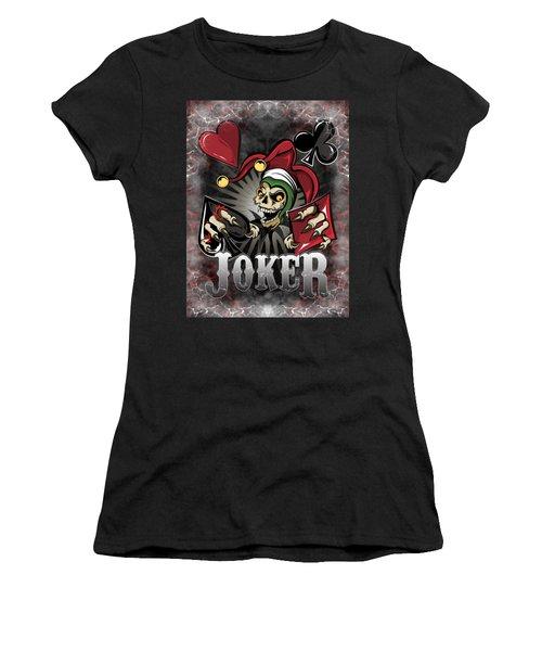 Joker Poker Skull Women's T-Shirt (Athletic Fit)