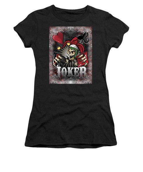 Joker Poker Skull Women's T-Shirt (Athletic Fit)