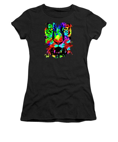 Women's T-Shirt featuring the mixed media Colored Tiger by David Millenheft