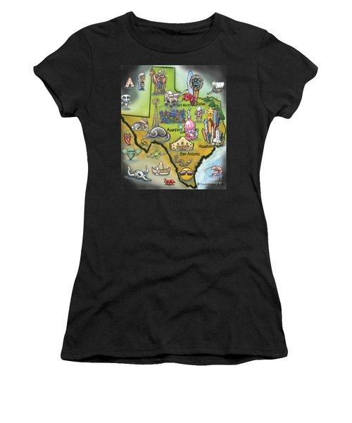 Texas Cartoon Map Women's T-Shirt
