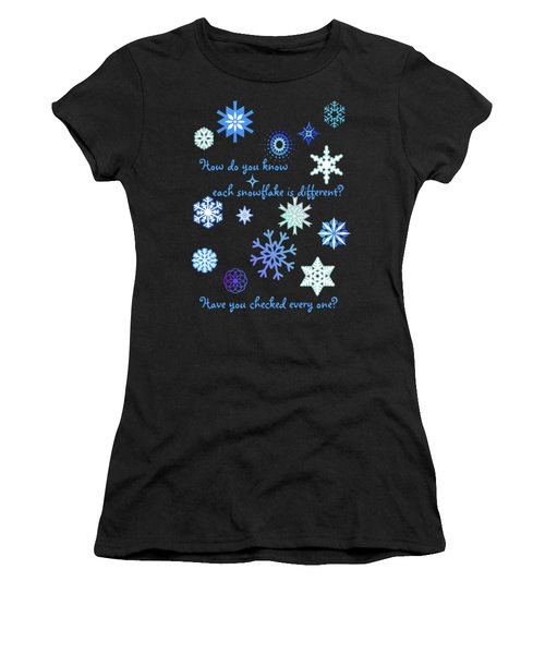 Snowflakes 2 Women's T-Shirt (Junior Cut) by Methune Hively