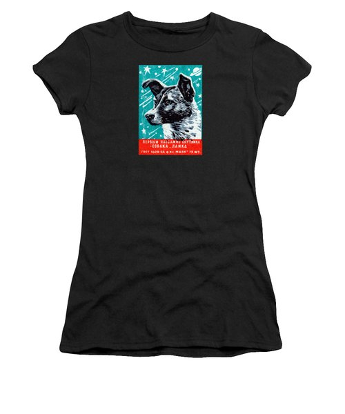 1957 Laika The Space Dog Women's T-Shirt (Junior Cut) by Historic Image