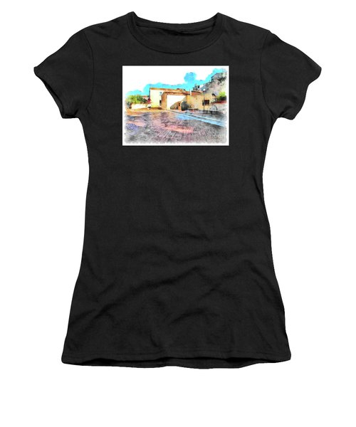 Arzachena Church Square Snow Madonna Women's T-Shirt (Athletic Fit)