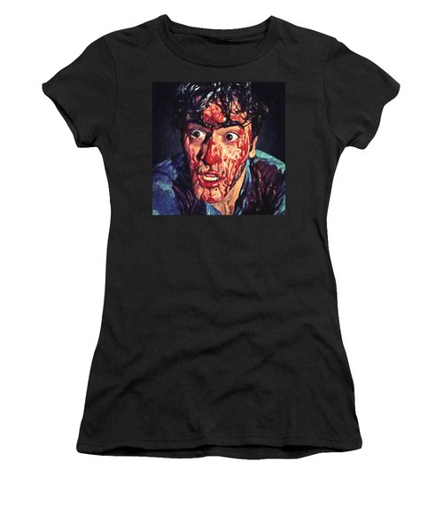 Women's T-Shirt (Athletic Fit) featuring the painting Ash Williams by Taylan Apukovska