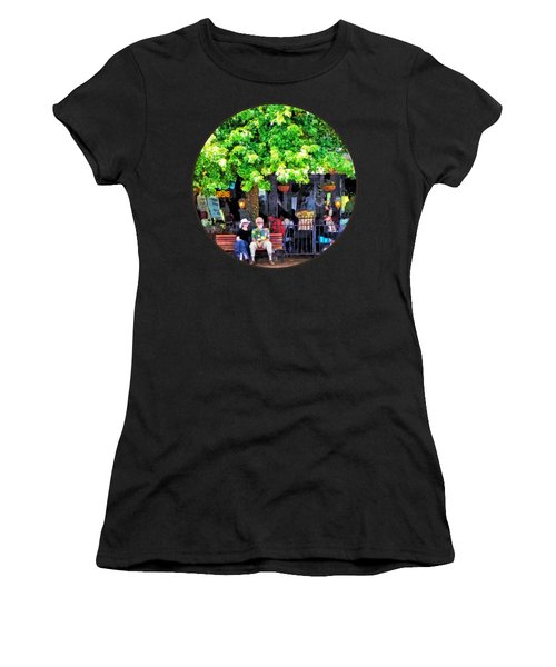 Asheville Nc Outdoor Cafe Women's T-Shirt (Junior Cut) by Susan Savad