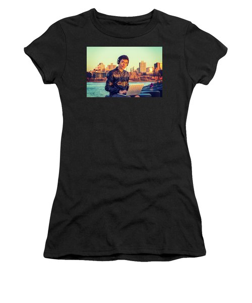 Asian American College Student Traveling, Studying In New York Women's T-Shirt (Athletic Fit)