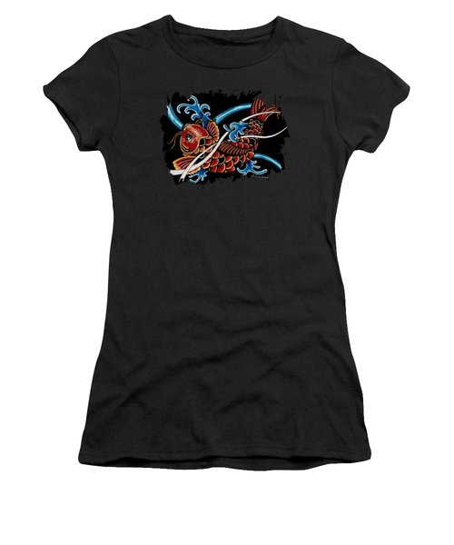 Asian Koi Women's T-Shirt (Junior Cut) by Maria Arango