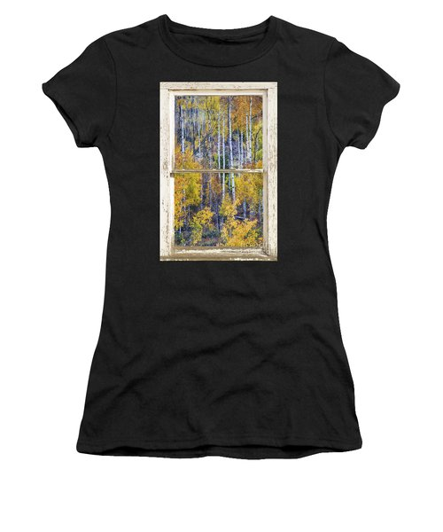 Aspen Tree Magic Cottonwood Pass White Farm House Window Art Women's T-Shirt