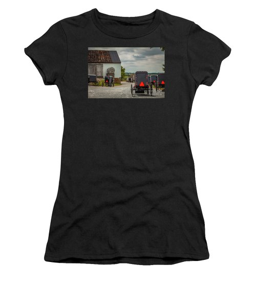 Assorted Amish Buggies At Barn Women's T-Shirt
