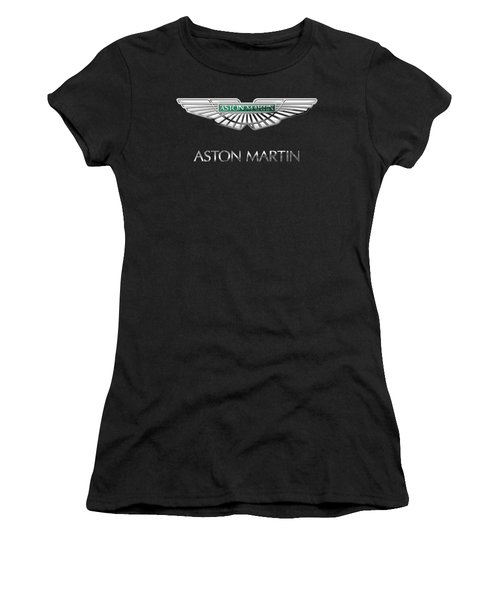 Aston Martin 3 D Badge On Black  Women's T-Shirt (Junior Cut) by Serge Averbukh