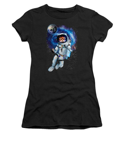 Astronaut Cat Women's T-Shirt (Athletic Fit)