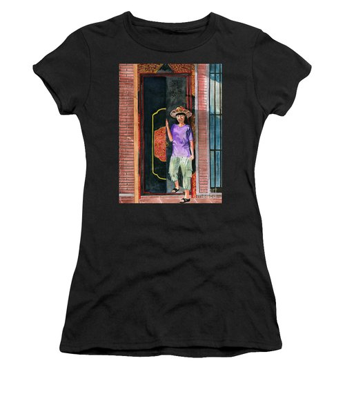Women's T-Shirt (Junior Cut) featuring the painting At Puri Kelapa by Melly Terpening