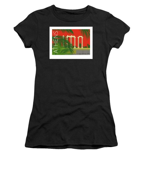 Athens Temple Of Olympian Zeus - Orange Women's T-Shirt