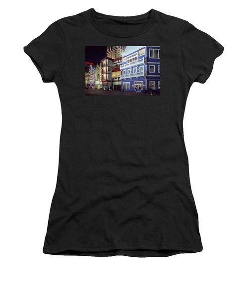 Atlantic City Boardwalk At Night Women's T-Shirt (Junior Cut) by Sally Weigand