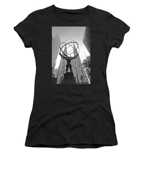 Atlas Rockefeller Center Nyc Women's T-Shirt (Athletic Fit)