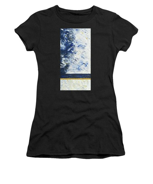 Women's T-Shirt featuring the painting Atmospheric Conditions, Panel 1 Of 3 by Kathryn Riley Parker