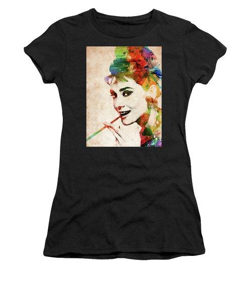 Audrey Hepburn Colorful Portrait Women's T-Shirt (Athletic Fit)