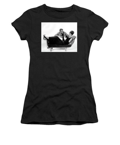 Women's T-Shirt (Athletic Fit) featuring the photograph Audrey Hepburn Holly Golightly Breakfast At Tiffanys  by R Muirhead Art