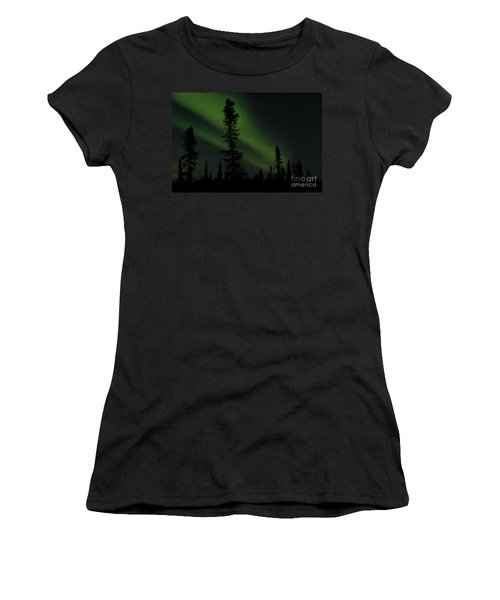 Aurora Borealis The Northern Lights Interior Alaska Women's T-Shirt (Junior Cut) by Sharon Mau