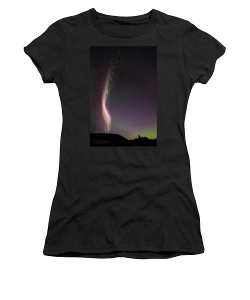 Auroral Phenomonen Known As Steve With A Large Meteor Women's T-Shirt