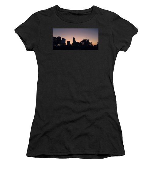 Austin Skyline Sunrise Into A Crescent Moon Panorma Women's T-Shirt