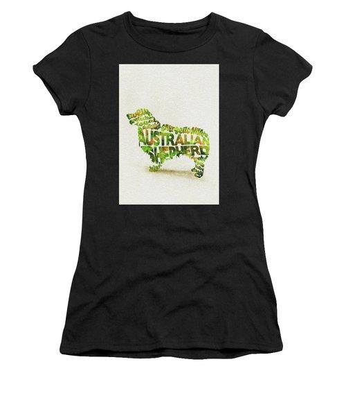 Australian Shepherd Dog Watercolor Painting / Typographic Art Women's T-Shirt (Athletic Fit)