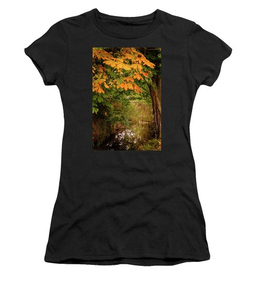 Women's T-Shirt (Athletic Fit) featuring the photograph Autumn Along The Bog Burn by RKAB Works