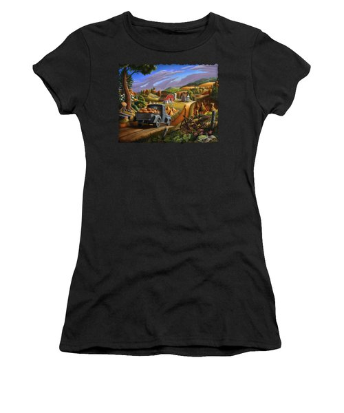 Autumn Appalachia Thanksgiving Pumpkins Rural Country Farm Landscape - Folk Art - Fall Rustic Women's T-Shirt