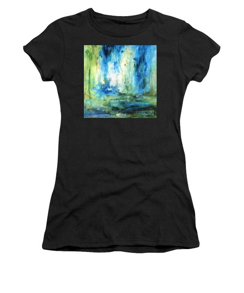Women's T-Shirt (Athletic Fit) featuring the painting Spring Rain  by Laurie Rohner